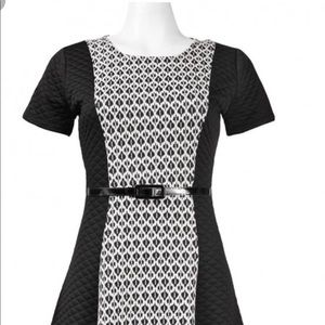 Nina Leonard Short Sleeve Aline Cotton Blend Dress
